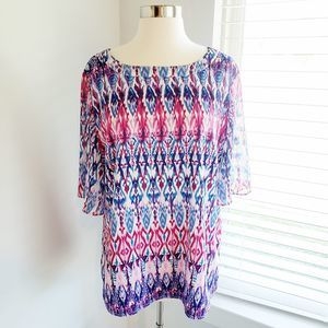 Chico's Abstract Top Short Sleeve Print Large 12